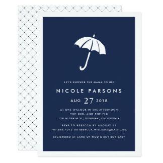 Moderne Marine-Regenschirm-Babyparty-Einladung Karte