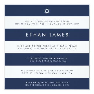 Moderne Marine u. weiße Streifen-Bar Mitzvah Karte