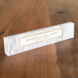 Moderne Marmor-und Goldbeschaffenheit Namensplakette