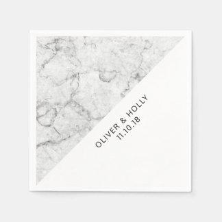 Moderne Marmorhochzeitsservietten Papierserviette
