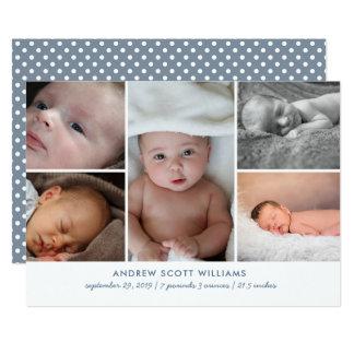 Moderne mehrfache Fotobaby-Geburtsmitteilung 12,7 X 17,8 Cm Einladungskarte