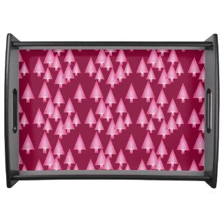Moderne metallische Weihnachtsbäume - Rosa u. Wein Serviertablett