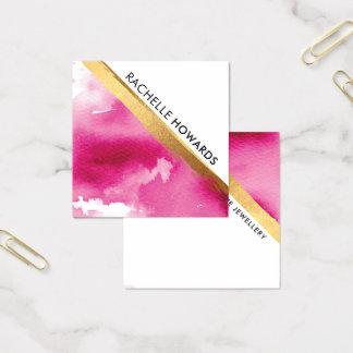 MODERNE MINIMALE WINKEL-Rosa-Aquarell-Goldbürste Quadratische Visitenkarte