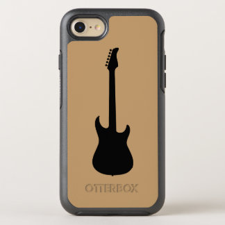 Moderne Musik-Schwarz-E-Gitarre auf Kamel Brown OtterBox Symmetry iPhone 8/7 Hülle