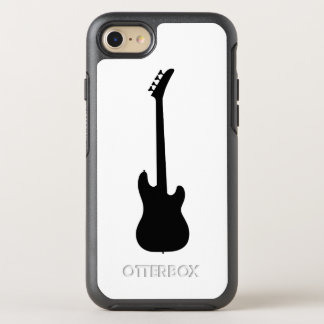 Moderne Musik-Schwarzes Bass-Gitarre auf Weiß OtterBox Symmetry iPhone 8/7 Hülle