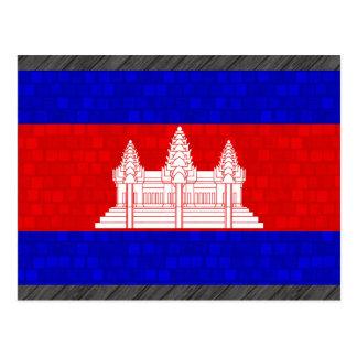 Moderne Muster-Kambodschaner-Flagge Postkarte