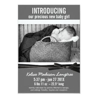 Moderne neue Baby-Geburts-Mitteilung 8,9 X 12,7 Cm Einladungskarte