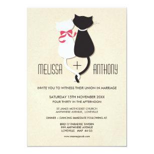 Moderne Niedliche Katzen Paar Monogramm Hochzeit Einladung