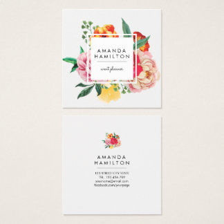 Moderne noble Aquarell-Pfingstrose mit Blumen Quadratische Visitenkarte