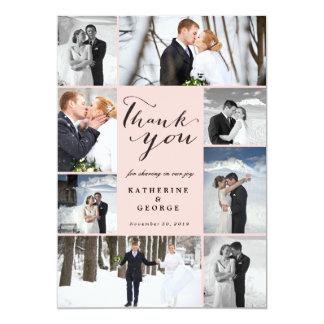 Moderne noble Foto-Collagen-Hochzeit danken Ihnen Einladungskarte