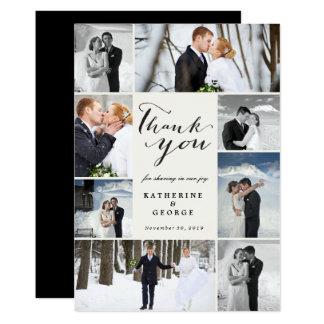 Moderne noble Foto-Collagen-Hochzeit danken Ihnen 12,7 X 17,8 Cm Einladungskarte