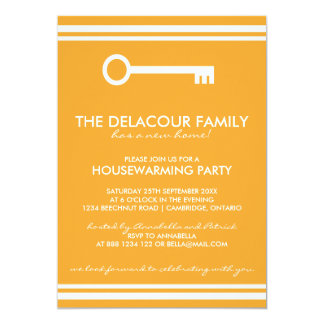 Moderne orange Housewarming-Party Einladung