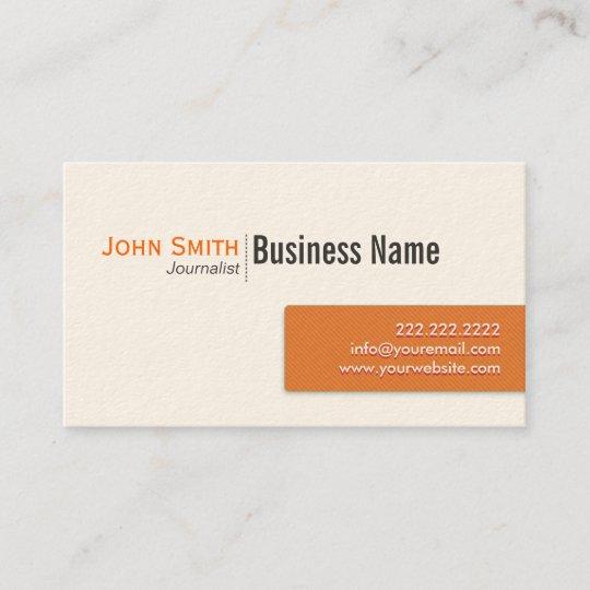 Moderne Orange Label Journalist Business Card Visitenkarte