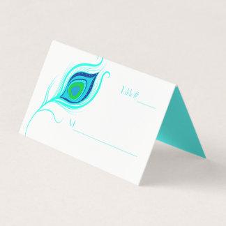 Moderne Pfau-Feder-Hochzeit gefaltete Platzkarte
