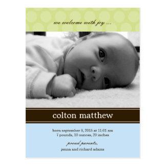 Moderne Punkt-Geburts-Mitteilung - Blau Postkarte