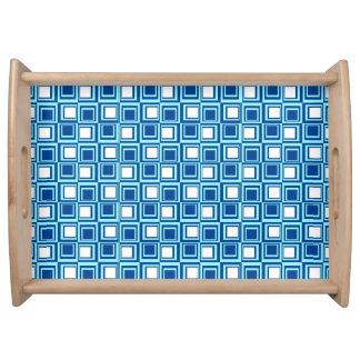 Moderne Quadrate, Licht und dunkles Indigo mit Tablett