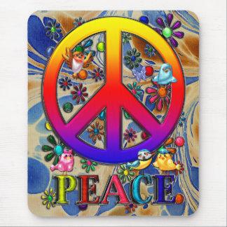Moderne Retro Friedenszeichen-Text-Vögel u. Blumen Mousepad