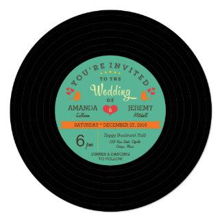 Moderne Retro Vinylaufzeichnungs-Hochzeit Personalisierte Einladung