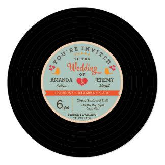 Moderne Retro Vinylaufzeichnungs-orange Personalisierte Ankündigungskarte