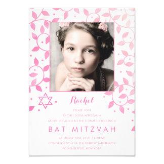Moderne rosa Foto-Schläger Mitzvah Einladungen