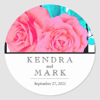 Moderne rosa Rose Braut Runder Aufkleber