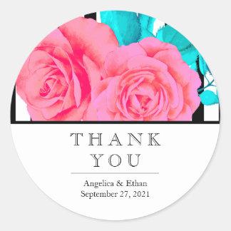 Moderne rosa Rose danken Ihnen Aufkleber