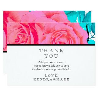 Moderne rosa Rosen-Streifen danken Ihnen Karten Karte