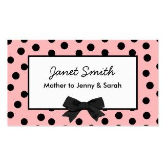 Moderne rosa und schwarze Tupfen-Mama-Karte Visitenkarte