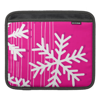 Moderne rosa und weißes Weihnachtsschneeflocken Sleeve Für iPads