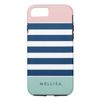 Moderne rosa weiße Marine-Minzen-Streifen iPhone 8/7 Hülle