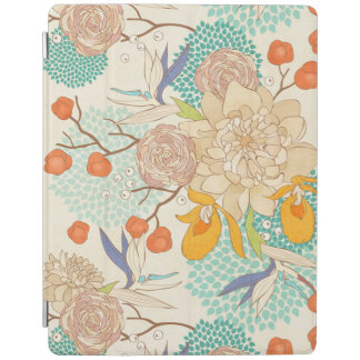 Moderne Rosen-Pfingstrosen-Blumen-Muster-Apple iPad Hülle