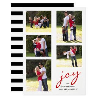 Moderne rote Freude, Streifen-Foto-Collage Karte