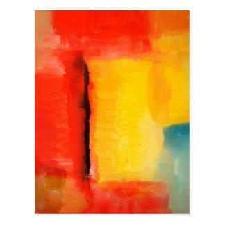 Moderne rote gelbe abstrakte Malerei Postkarte