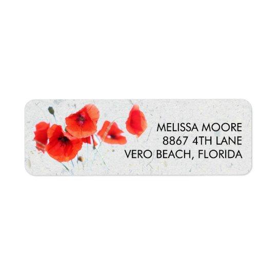 Moderne rote Mohnblumen-BlumenRücksendeadresse