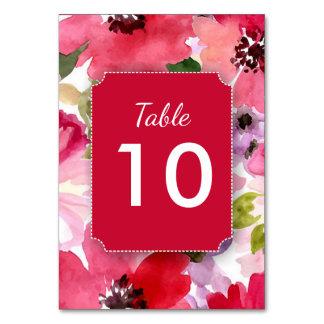 Moderne rote Watercolor-Tischnummer-mit Karte
