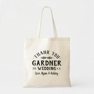 Moderne rustikale personalisierte Hochzeit danken Tragetasche