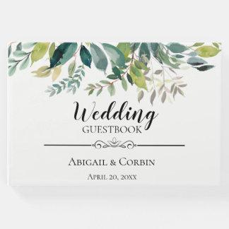 Moderne schicke Grün-Blumenstrauß-Hochzeit Gästebuch