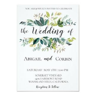 Moderne schicke Grün-Hochzeits-Einladung Karte
