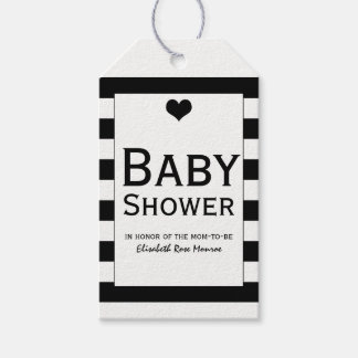 Moderne schicke schwarze u. weiße Babyparty Geschenkanhänger