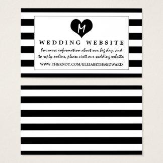 Moderne schicke Schwarzweiss-Hochzeits-Website Visitenkarte