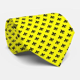 Moderne schwarze Lilie auf Gelb Bedruckte Krawatten