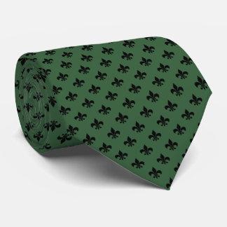 Moderne schwarze Lilie auf Jäger-Grün Individuelle Krawatte