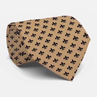 Moderne schwarze Lilie auf Kamel Brown Personalisierte Krawatte