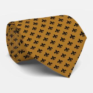 Moderne schwarze Lilie auf Mattgold Bedruckte Krawatte