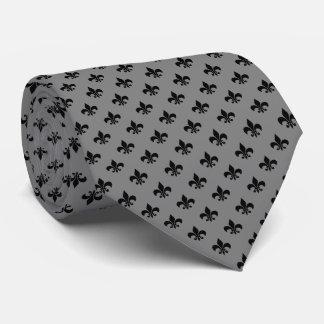 Moderne schwarze Lilie auf mittlerem Grau Individuelle Krawatte