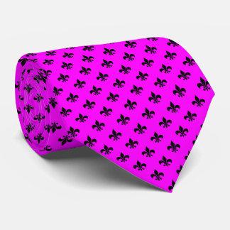 Moderne schwarze Lilie auf Rosa Individuelle Krawatte