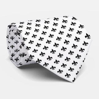 Moderne schwarze Lilie auf Weiß Krawatte