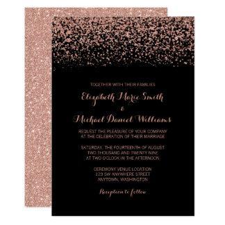 Moderne schwarze Rosen-GoldImitat-Glitzer-Hochzeit Karte