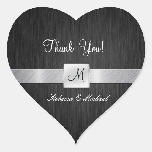 Moderne Schwarze und silberne danken Ihnen Aufkleb Herz Aufkleber