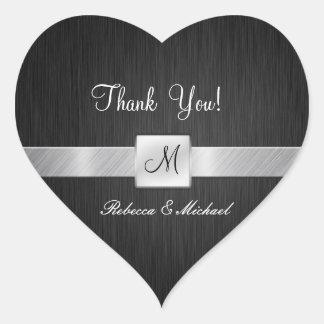 Moderne Schwarze und silberne danken Ihnen Herz Aufkleber